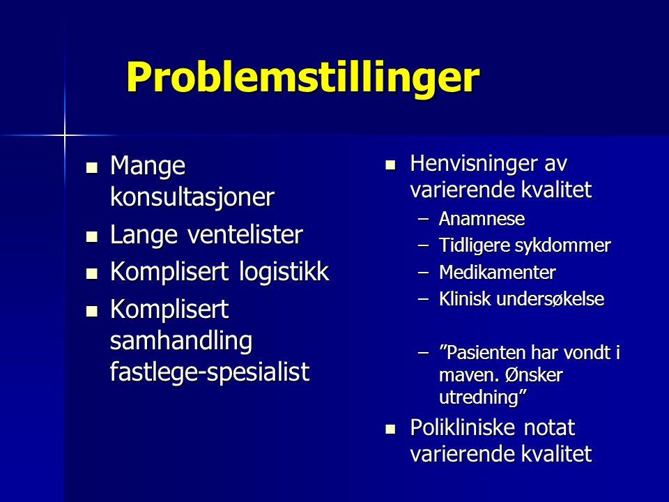 Problemstillinger Mange konsultasjoner Lange ventelister