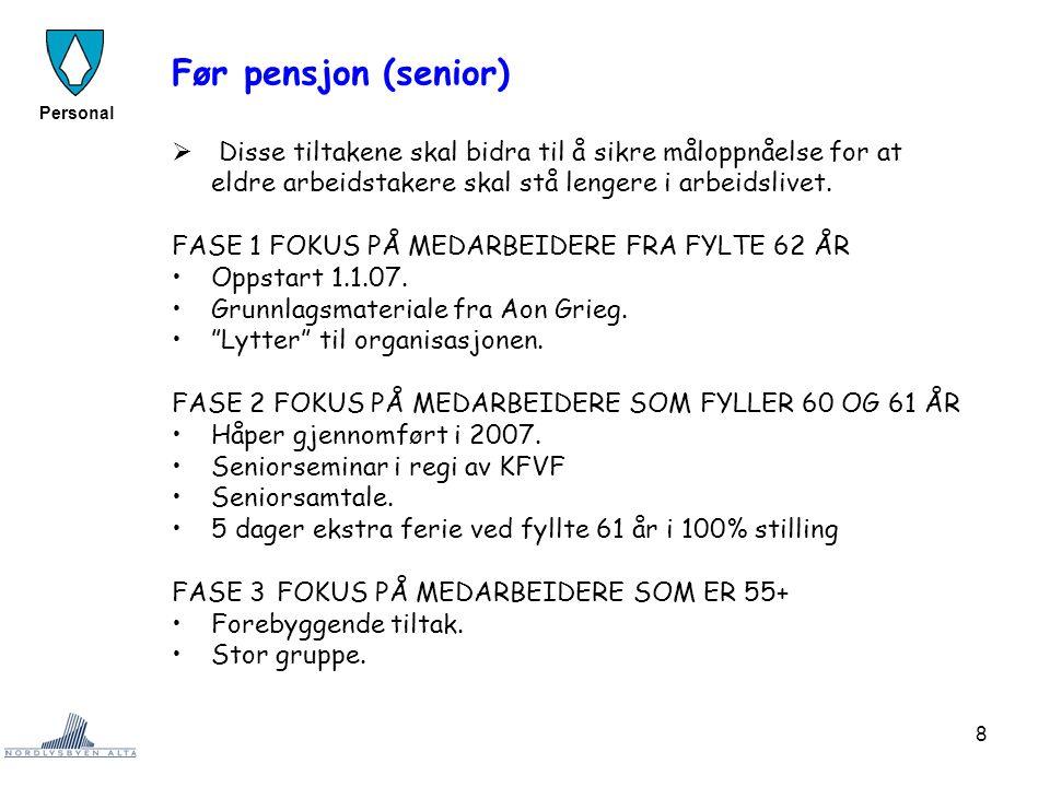 Før pensjon (senior) Disse tiltakene skal bidra til å sikre måloppnåelse for at eldre arbeidstakere skal stå lengere i arbeidslivet.