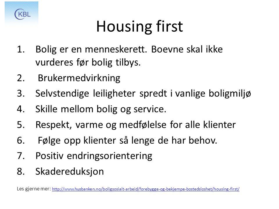 Housing first Bolig er en menneskerett. Boevne skal ikke vurderes før bolig tilbys. Brukermedvirkning.