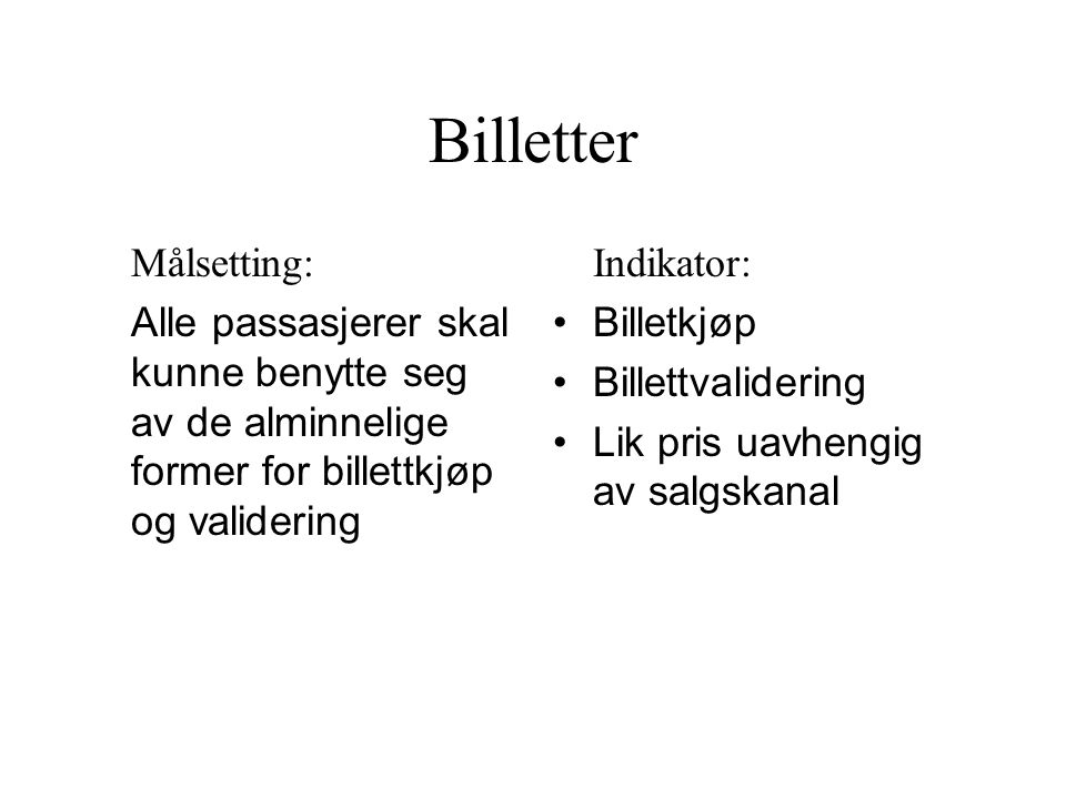 Billetter Målsetting: