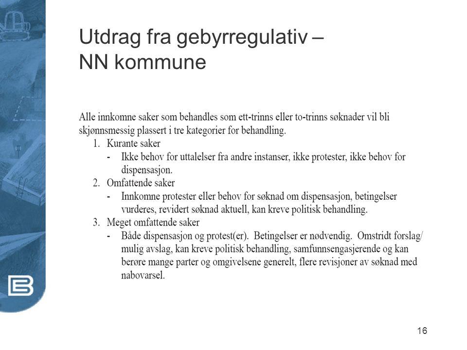 Utdrag fra gebyrregulativ – NN kommune