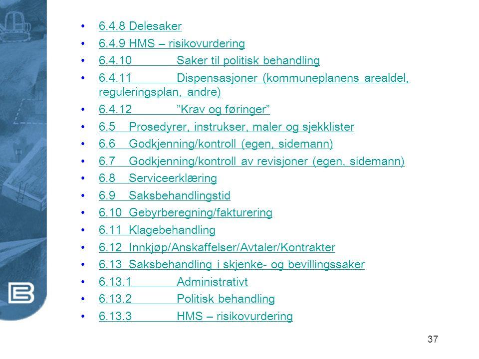 6.4.8 Delesaker 6.4.9 HMS – risikovurdering. 6.4.10 Saker til politisk behandling.