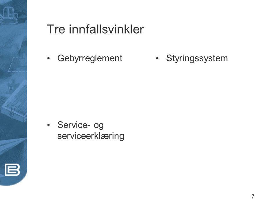 Tre innfallsvinkler Gebyrreglement Service- og serviceerklæring