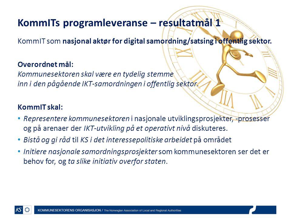 KommITs programleveranse – resultatmål 1
