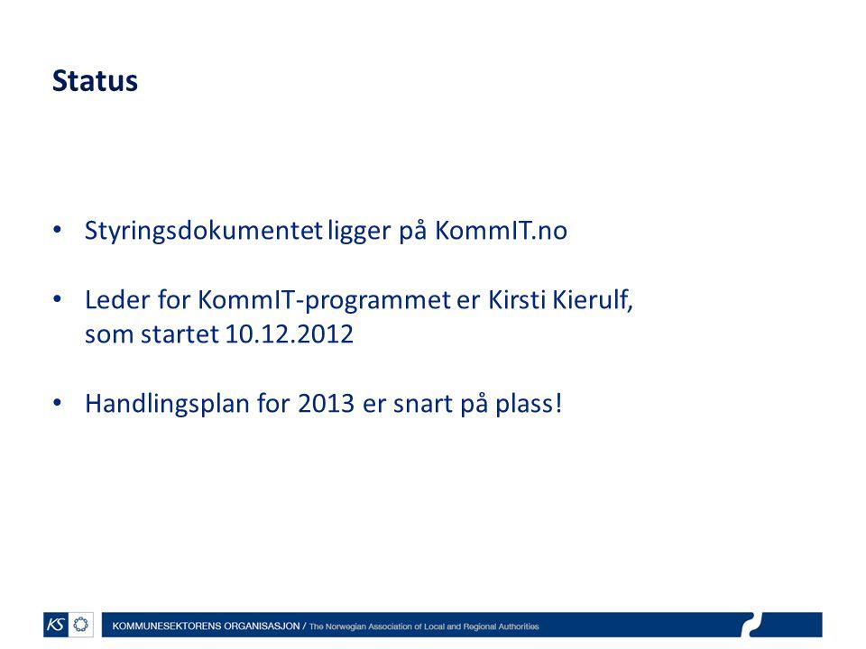 Status Styringsdokumentet ligger på KommIT.no