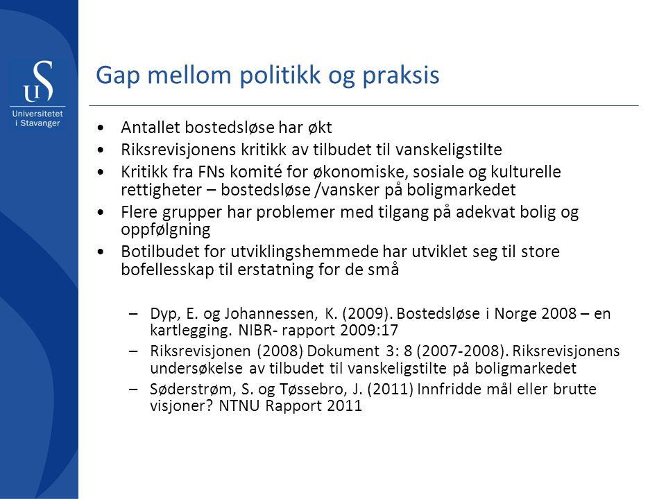 Gap mellom politikk og praksis