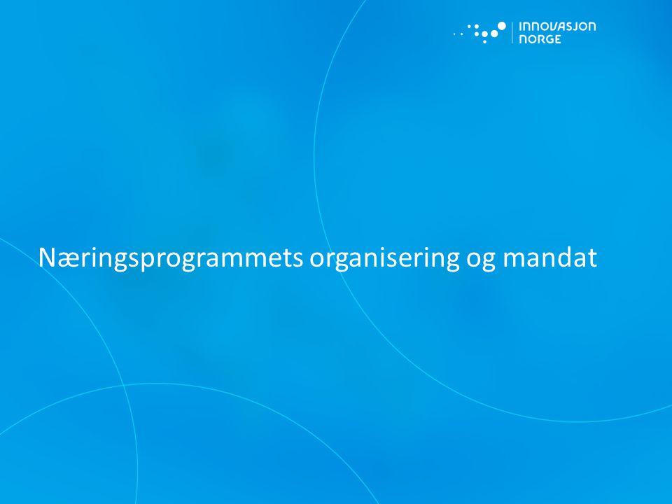 Næringsprogrammets organisering og mandat