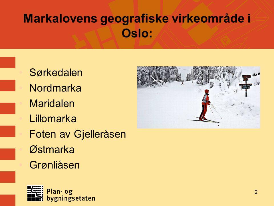 Markalovens geografiske virkeområde i Oslo: