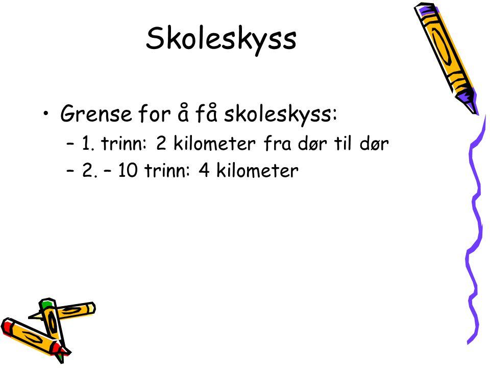 Skoleskyss Grense for å få skoleskyss: