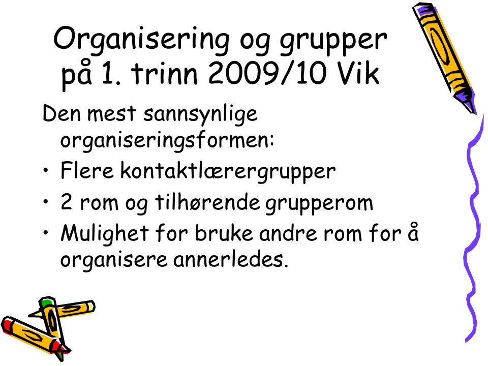 Organisering og grupper på 1. trinn 2009/10 Vik