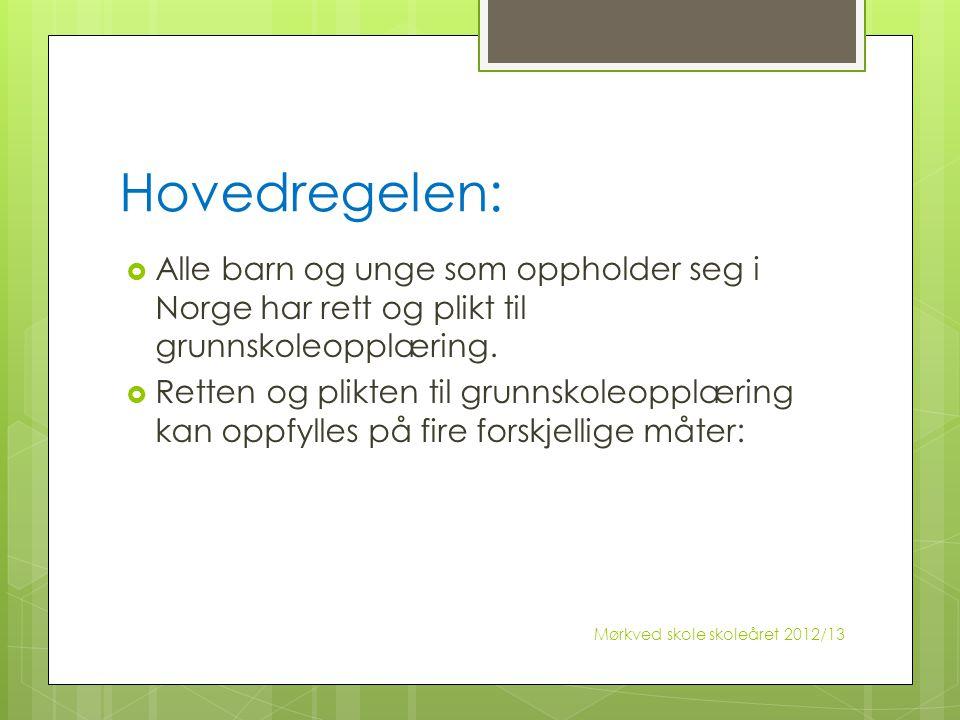 Hovedregelen: Alle barn og unge som oppholder seg i Norge har rett og plikt til grunnskoleopplæring.