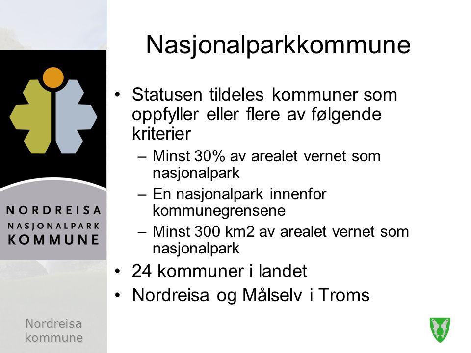 Nasjonalparkkommune Statusen tildeles kommuner som oppfyller eller flere av følgende kriterier. Minst 30% av arealet vernet som nasjonalpark.