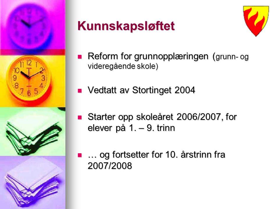 Kunnskapsløftet Reform for grunnopplæringen (grunn- og videregående skole) Vedtatt av Stortinget 2004.