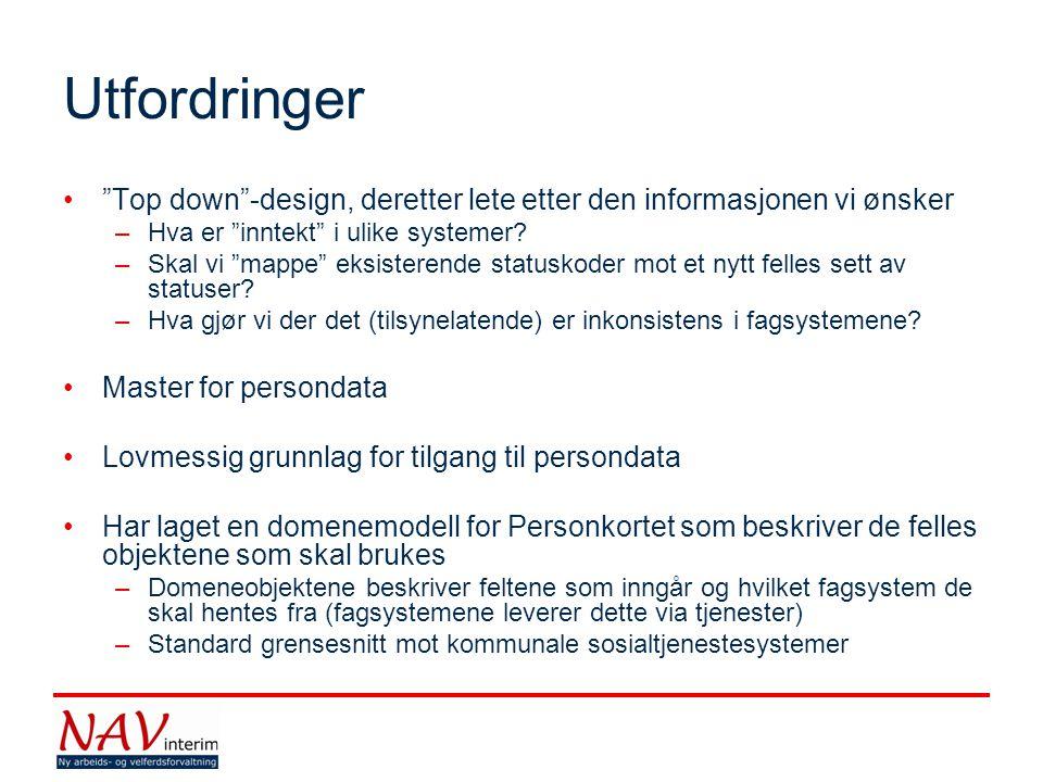 Utfordringer Top down -design, deretter lete etter den informasjonen vi ønsker. Hva er inntekt i ulike systemer