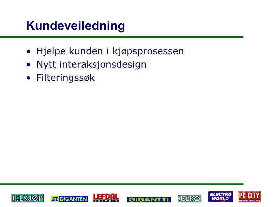 Kundeveiledning Hjelpe kunden i kjøpsprosessen Nytt interaksjonsdesign