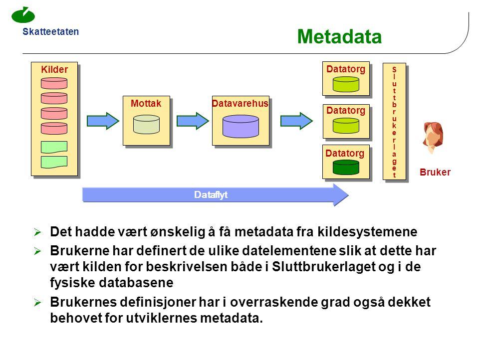 Metadata Det hadde vært ønskelig å få metadata fra kildesystemene