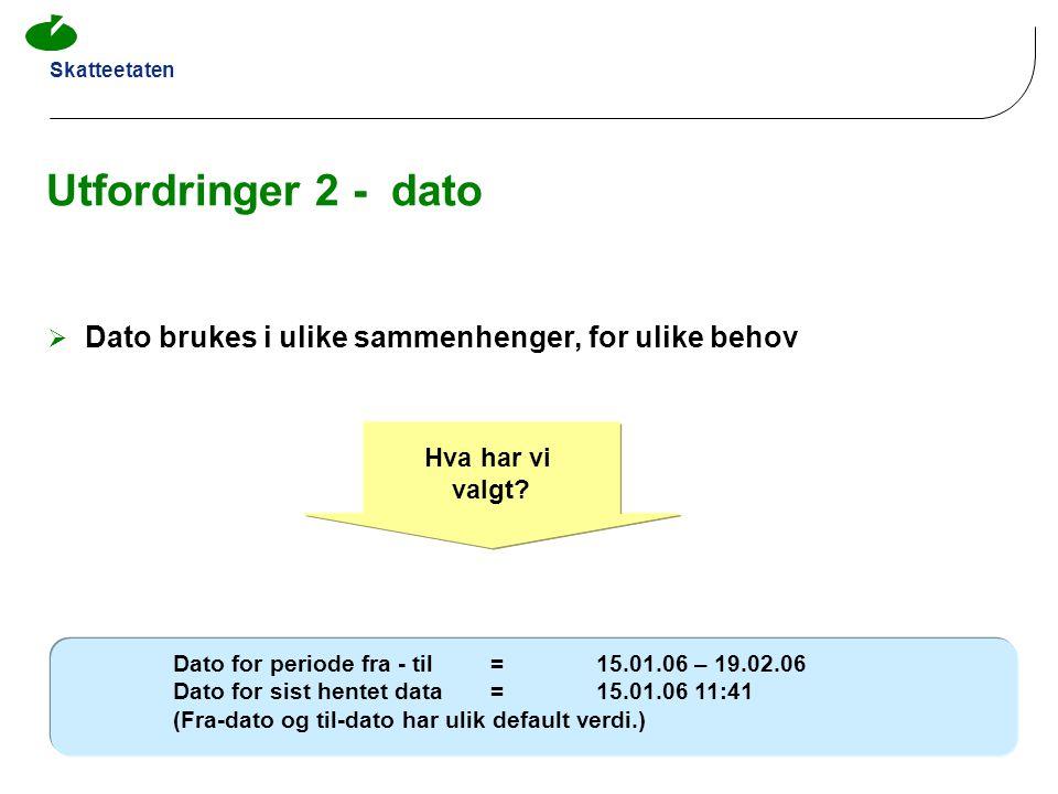 Utfordringer 2 - dato Dato brukes i ulike sammenhenger, for ulike behov. Hva har vi. valgt Dato for periode fra - til = 15.01.06 – 19.02.06.