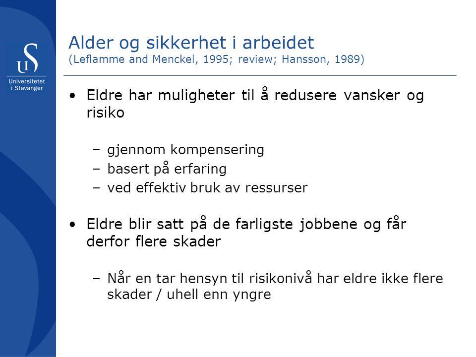 Alder og sikkerhet i arbeidet (Leflamme and Menckel, 1995; review; Hansson, 1989)