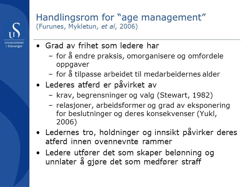 Handlingsrom for age management (Furunes, Mykletun, et al, 2006)