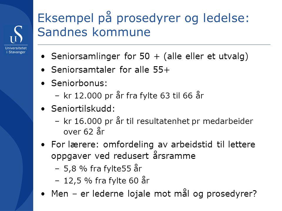Eksempel på prosedyrer og ledelse: Sandnes kommune