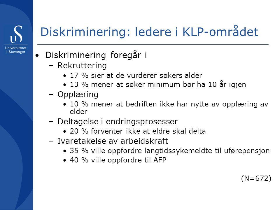 Diskriminering: ledere i KLP-området