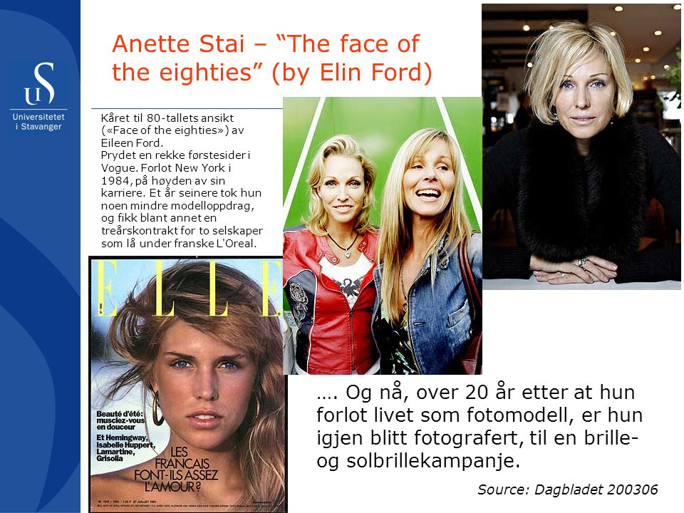 Anette Stai – The face of the eighties (by Elin Ford)