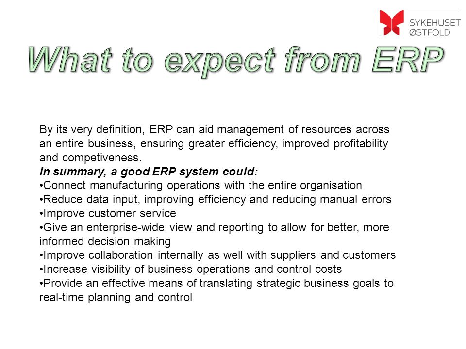 What to expect from ERP <>