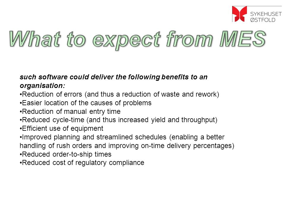 What to expect from MES <>