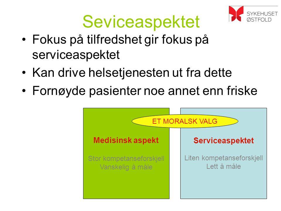 Seviceaspektet Fokus på tilfredshet gir fokus på serviceaspektet