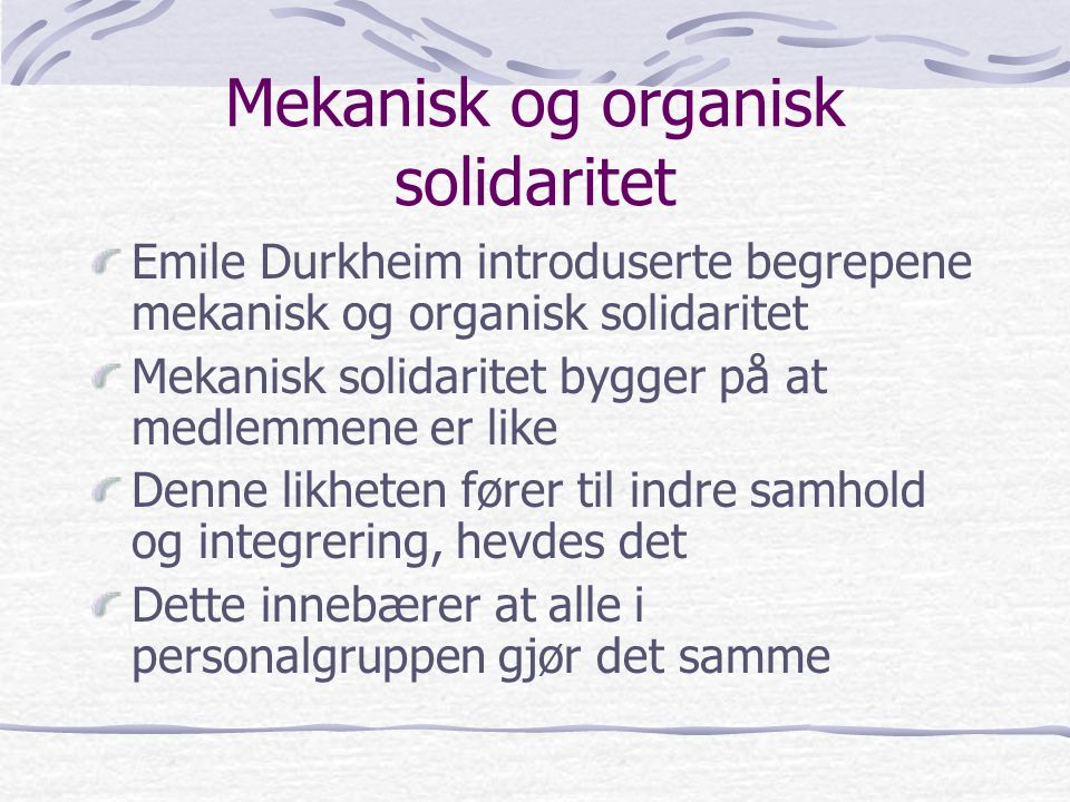 Mekanisk og organisk solidaritet
