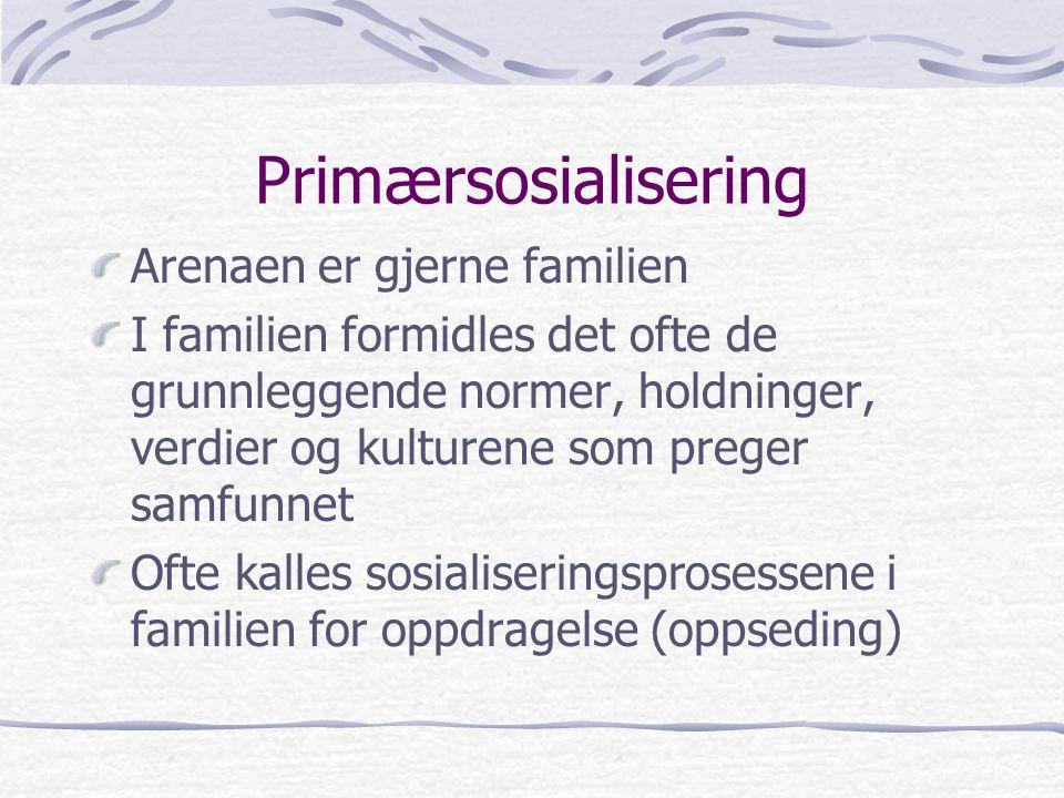Primærsosialisering Arenaen er gjerne familien