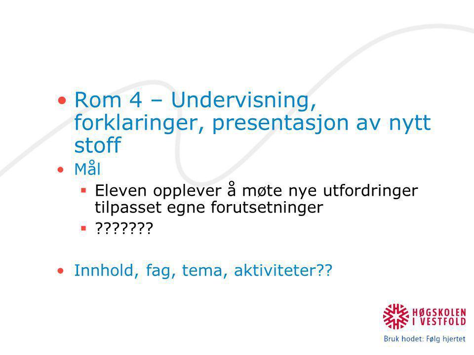 Rom 4 – Undervisning, forklaringer, presentasjon av nytt stoff