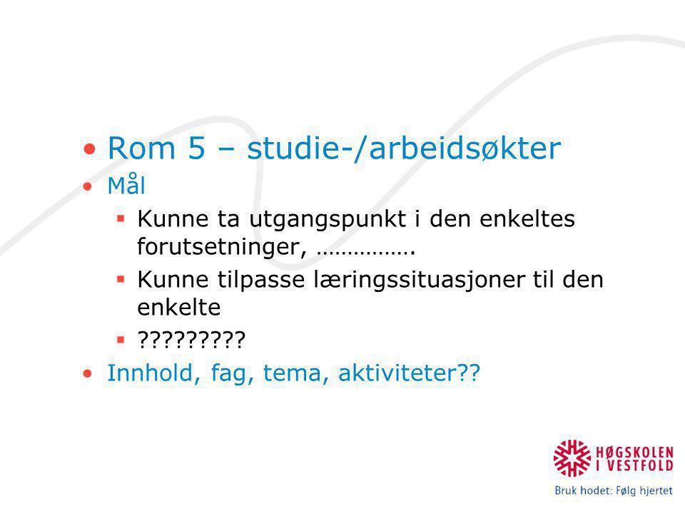 Rom 5 – studie-/arbeidsøkter