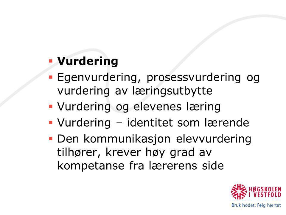 Vurdering Egenvurdering, prosessvurdering og vurdering av læringsutbytte. Vurdering og elevenes læring.