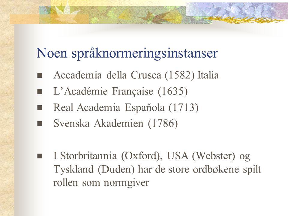 Noen språknormeringsinstanser