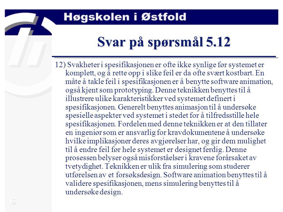 Svar på spørsmål 5.12