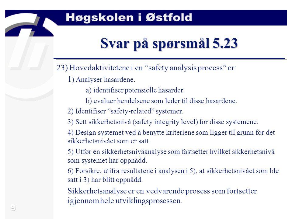 Svar på spørsmål 5.23 23) Hovedaktivitetene i en safety analysis process er: 1) Analyser hasardene.