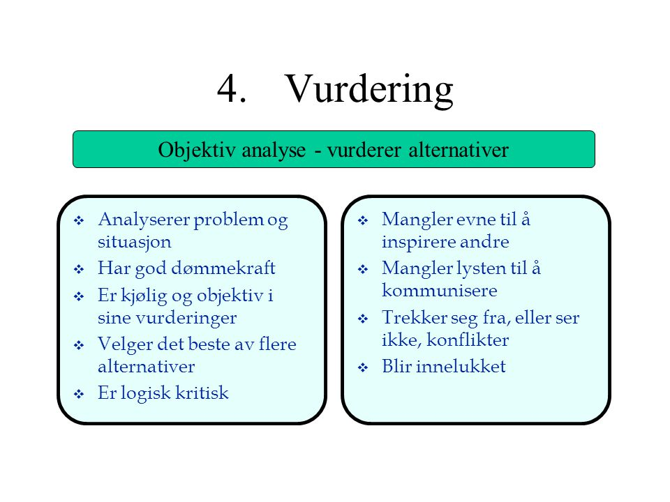 Objektiv analyse - vurderer alternativer