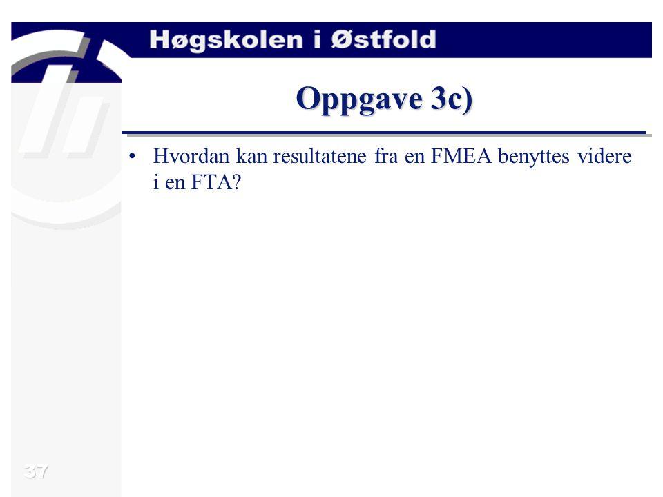 Oppgave 3c) Hvordan kan resultatene fra en FMEA benyttes videre i en FTA