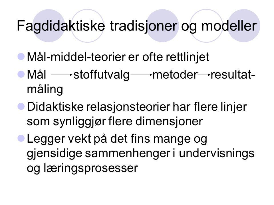Fagdidaktiske tradisjoner og modeller