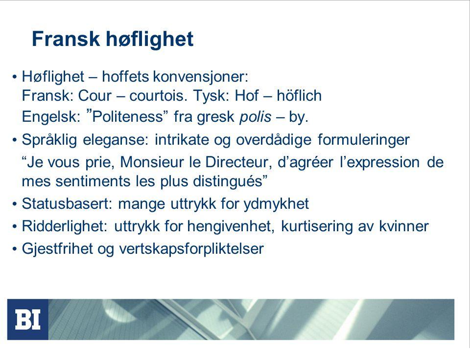 Fransk høflighet Engelsk: Politeness fra gresk polis – by.