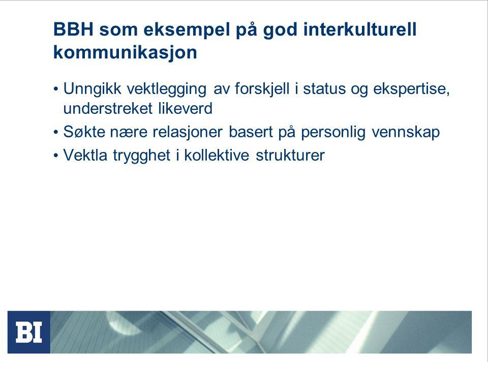 BBH som eksempel på god interkulturell kommunikasjon