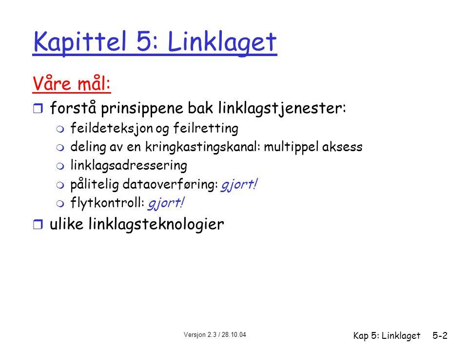 Kapittel 5: Linklaget Våre mål: