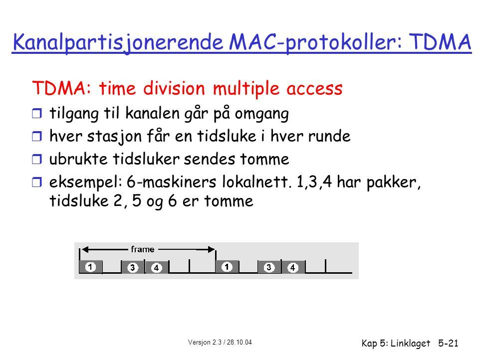 Kanalpartisjonerende MAC-protokoller: TDMA