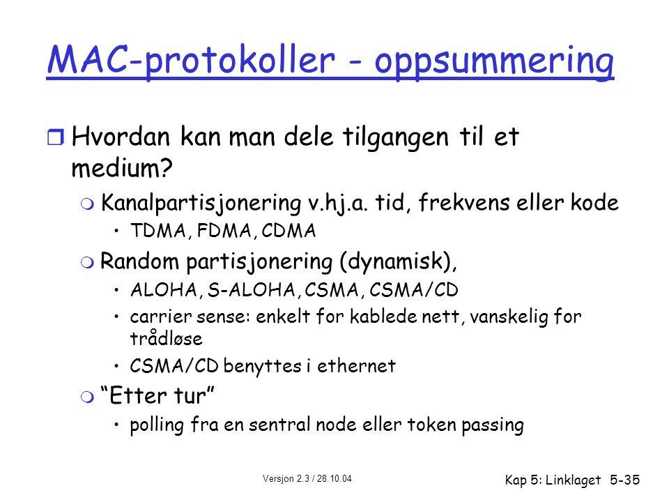 MAC-protokoller - oppsummering