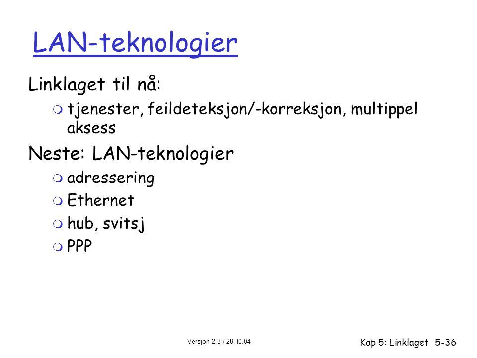 LAN-teknologier Linklaget til nå: Neste: LAN-teknologier