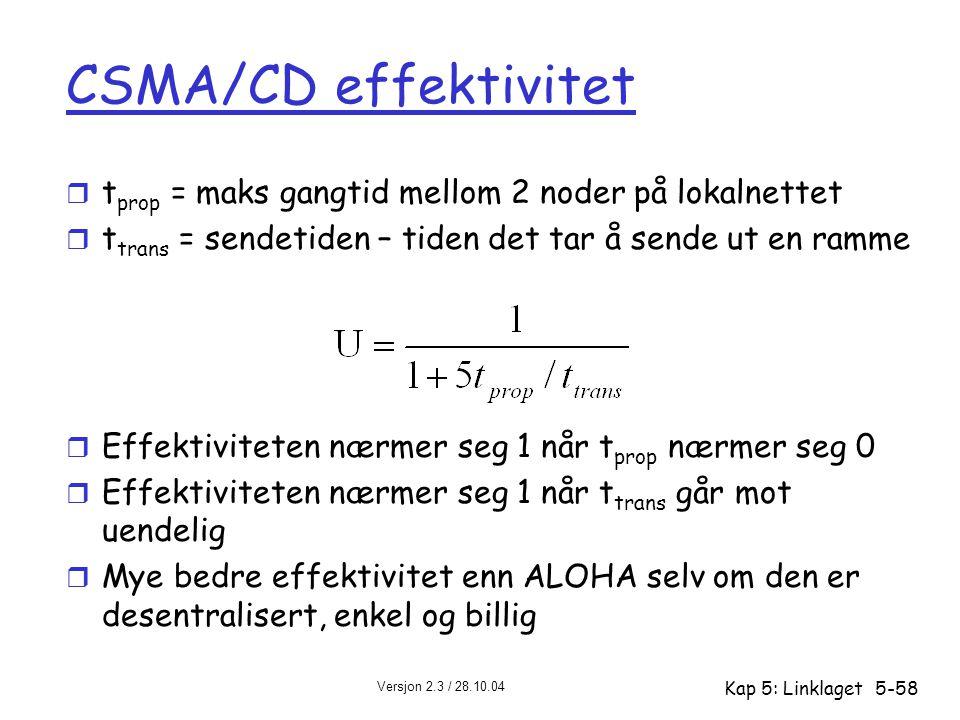 CSMA/CD effektivitet tprop = maks gangtid mellom 2 noder på lokalnettet. ttrans = sendetiden – tiden det tar å sende ut en ramme.