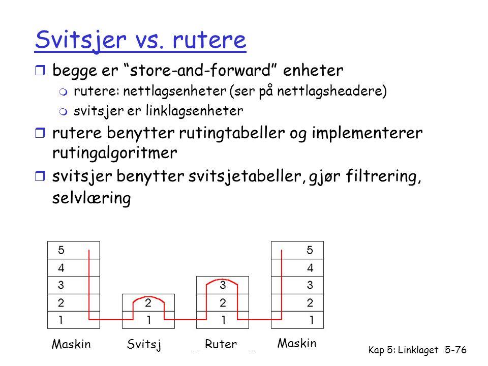 Svitsjer vs. rutere begge er store-and-forward enheter