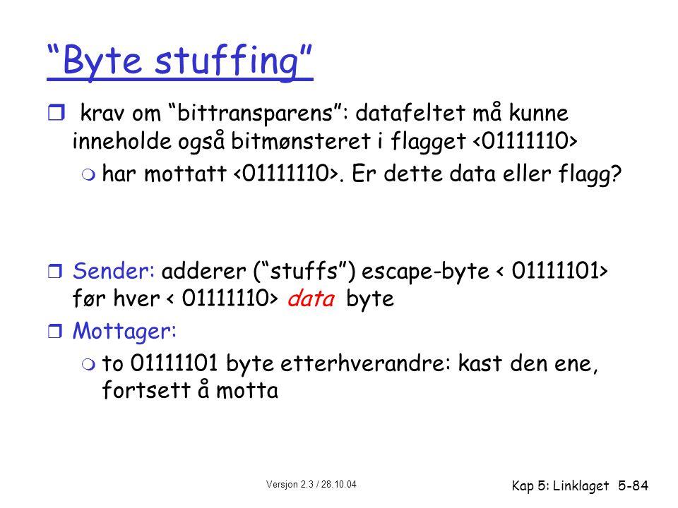 Byte stuffing krav om bittransparens : datafeltet må kunne inneholde også bitmønsteret i flagget <01111110>