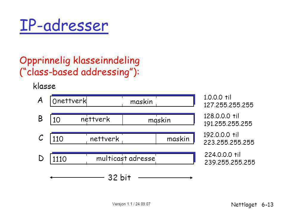 IP-adresser Opprinnelig klasseinndeling ( class-based addressing ):
